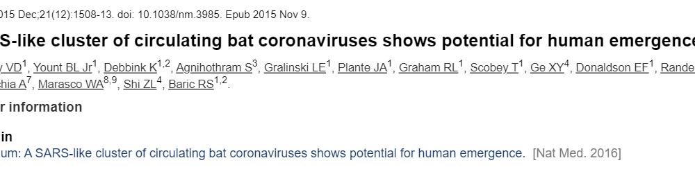 Προφητεία ή Πρόβλεψη; |Επιστημονική ομάδα το 2015 δημοσιεύει ότι υπάρχει κίνδυνος μεταφοράς κορονοϊών μεταξύ διαφορετικών ειδών.